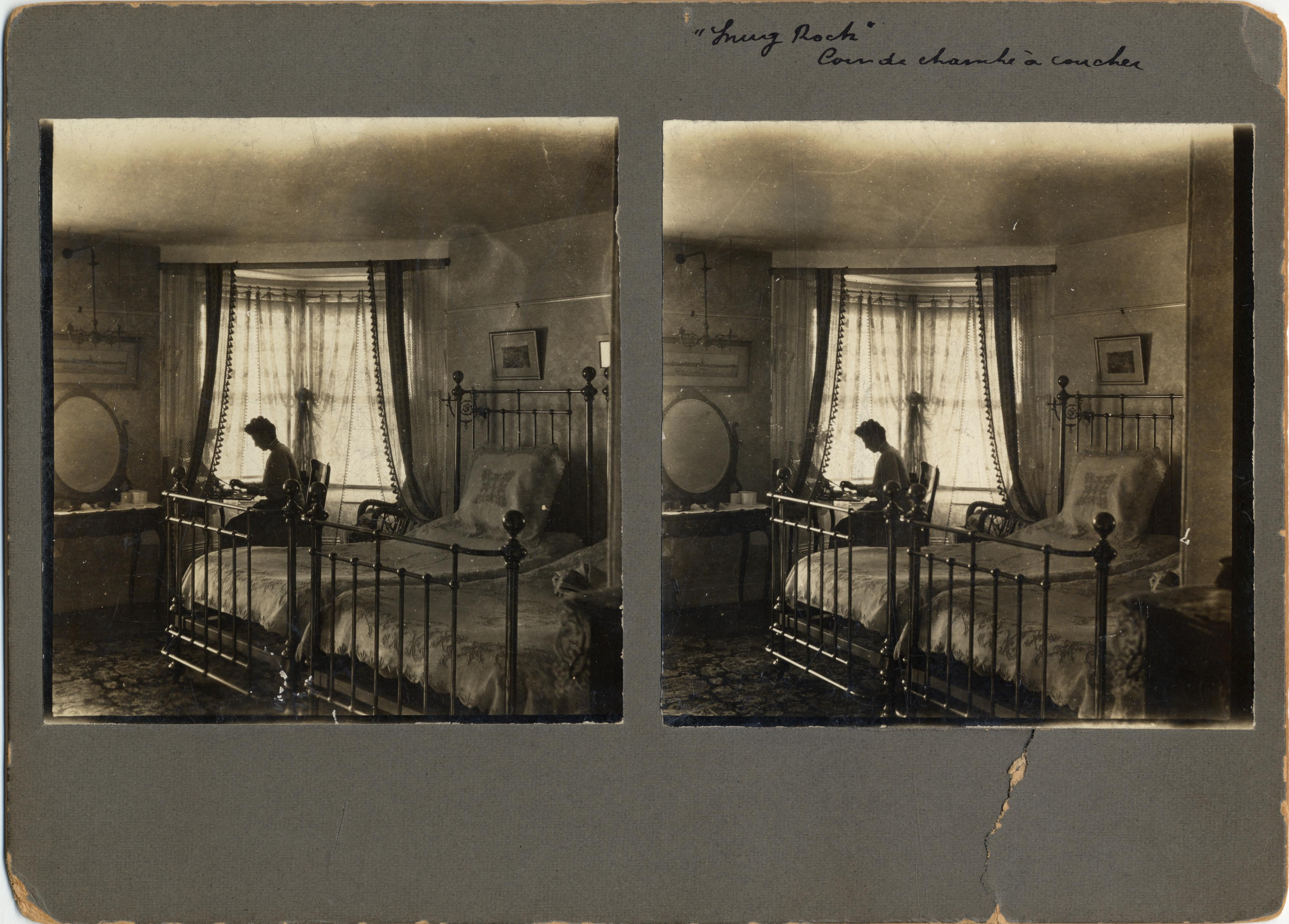 NMAH Archives CenterLeo H. Baekeland Papers0005Box 45Envelope 9-10Stereograph of Celine Baekeland in front of a bedroom window at Snug Rock.