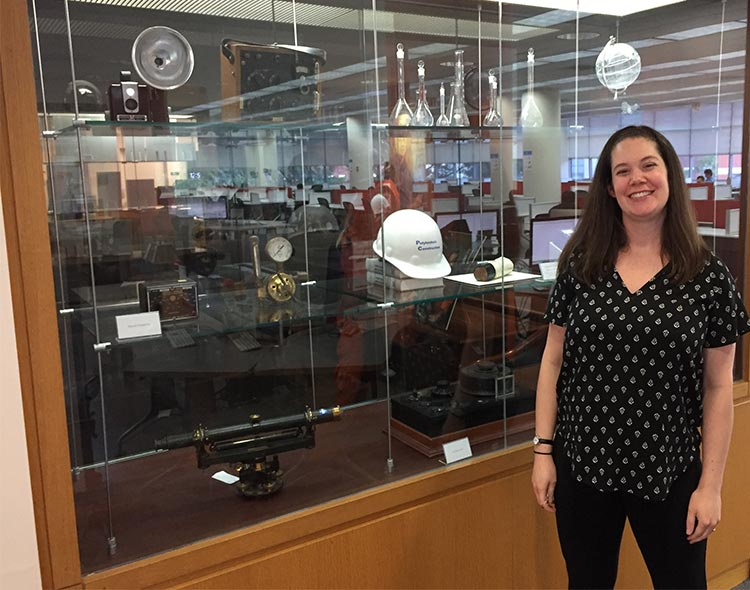 Lindsay Anderberg in the Bern Dibner Library during Hugh's visit in June 2017