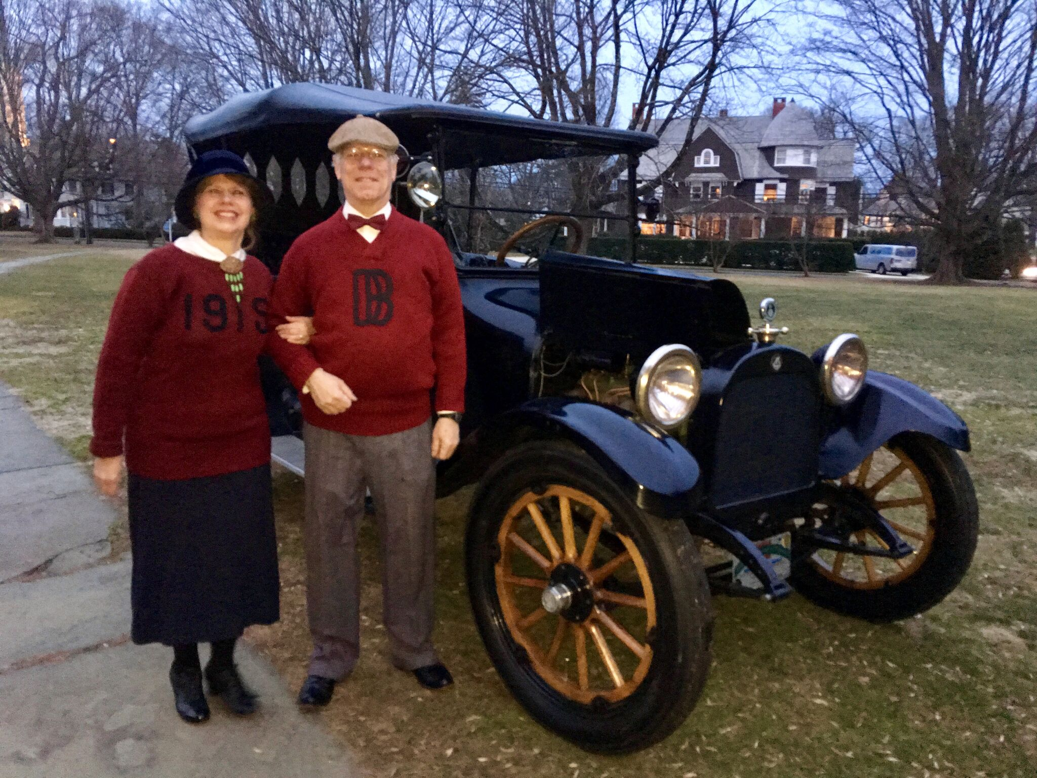 Gwen and Parker Ackley's antique car, seen in our film